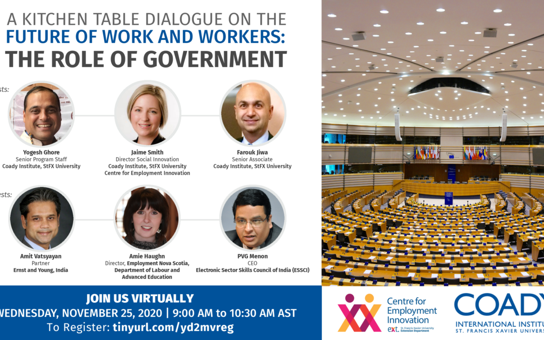 WEBINAR SERIES – A Kitchen Table Dialogue on the Future of Work and Workers: The Role of Government
